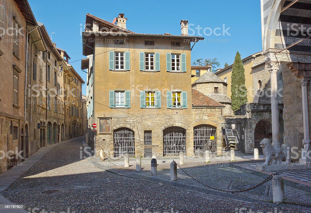 Medieval street in upper city of Bergamo, Italy stock photo