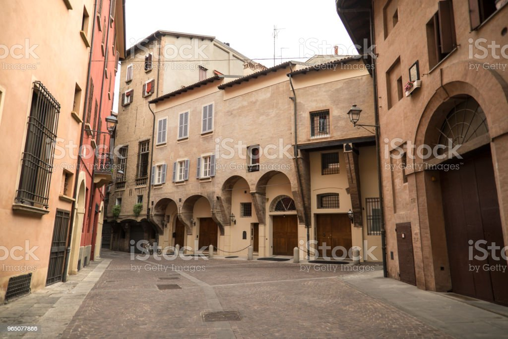 Medieval street portico in Bologna, Italy royalty-free stock photo