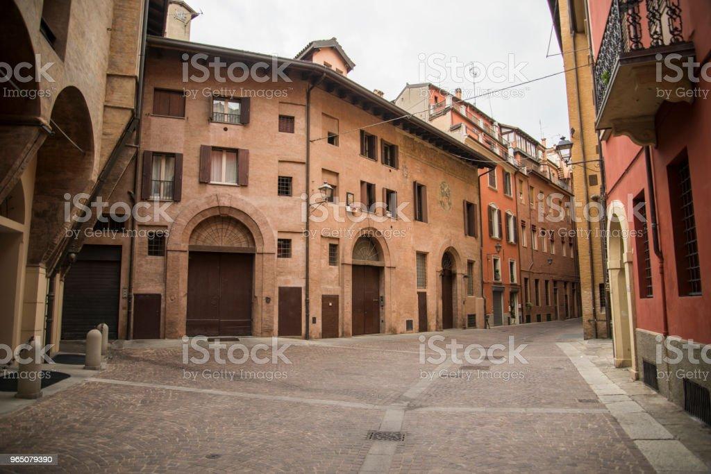 Medieval street portico in Bologna, Italy zbiór zdjęć royalty-free