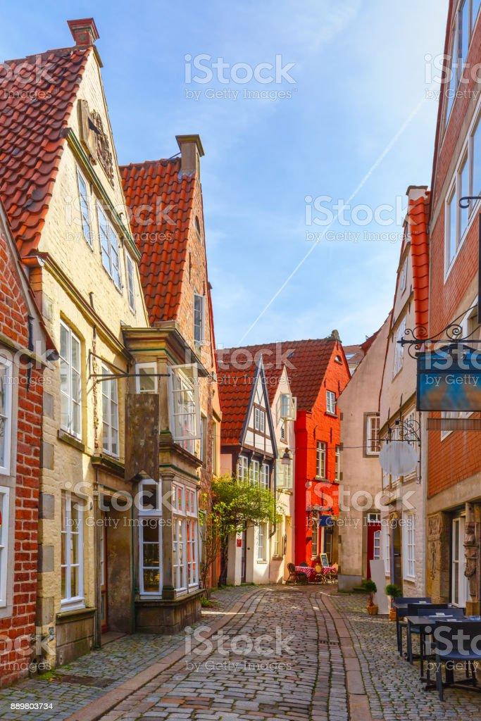 Calle medieval Schnoor en Bremen, Alemania - foto de stock