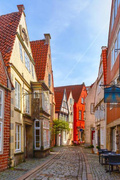 Medieval street Schnoor in Bremen, Germany stock photo