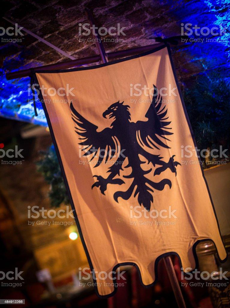 Medieval style Banner Flag. Historical / Fantasy Design Bird Crest stock photo