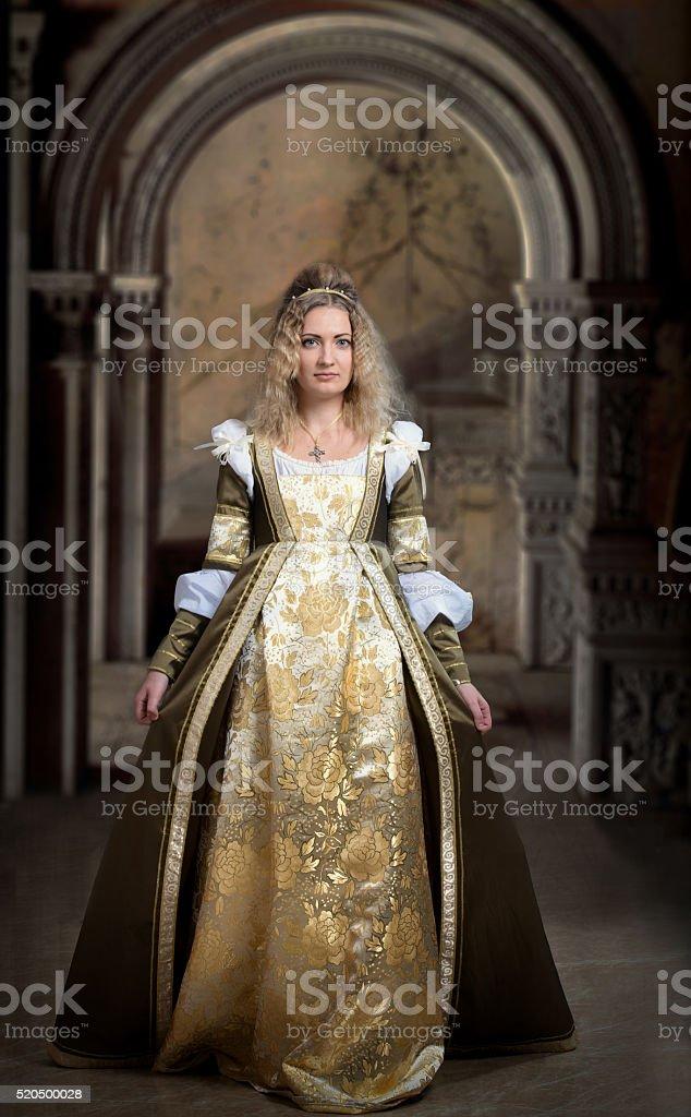 Medieval style female portrait stock photo