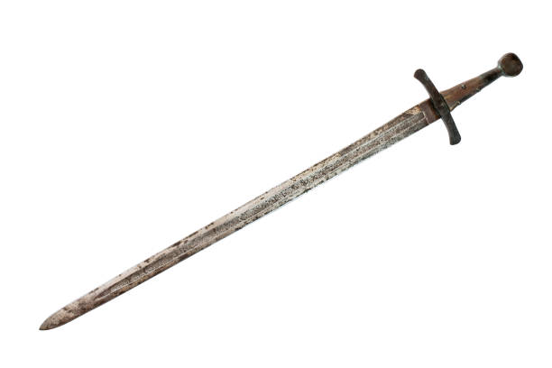 medieval sword isolated on white background. clipping path. - sword стоковые фото и изображения