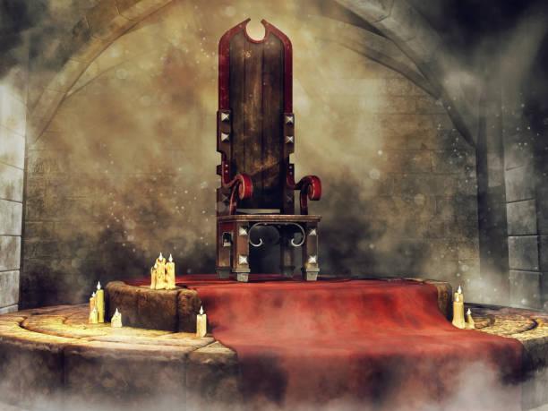 medieval throne and candles - tron zdjęcia i obrazy z banku zdjęć