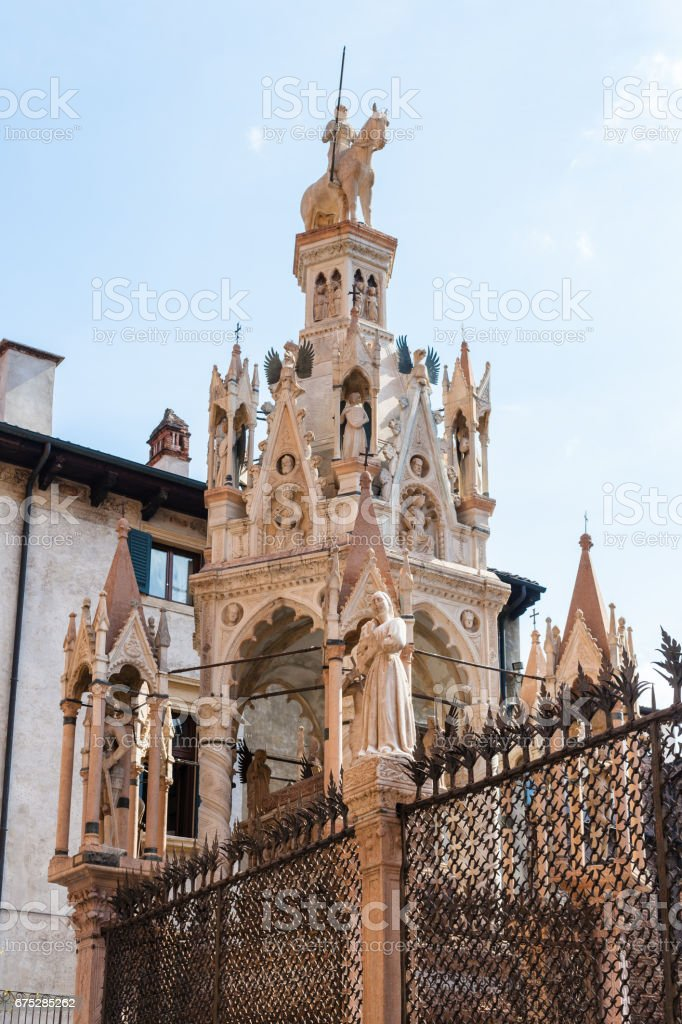 medieval tomb of cansignorio in arche scaligere stock photo