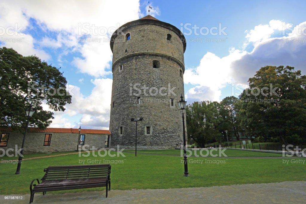 Medieval tower, Kiek In De Kok, in the park on the hill Toompea, Tallinn, Estonia stock photo