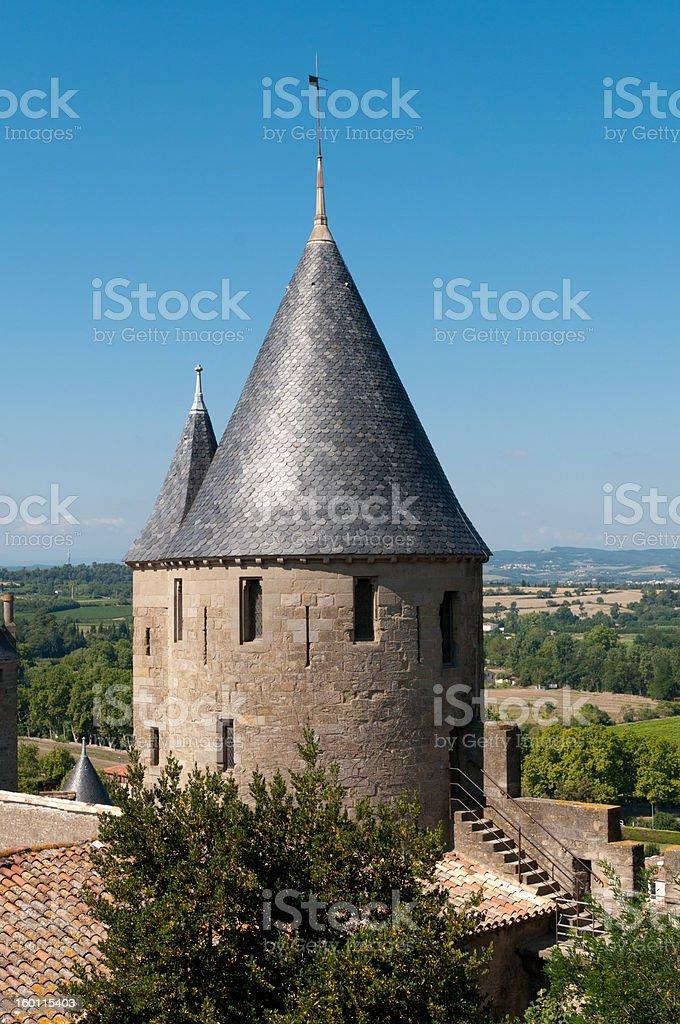 Medieval Tower, La Cité, Carcassonne, France stock photo