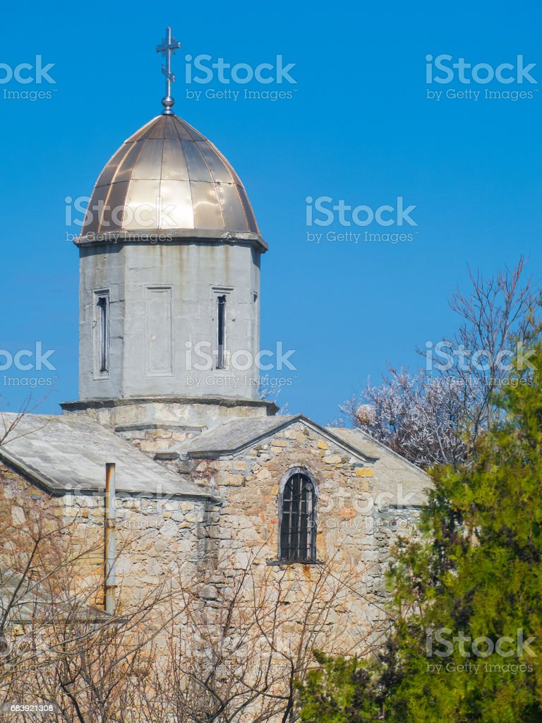 Medieval tower of Iverian church in Feodosia stock photo