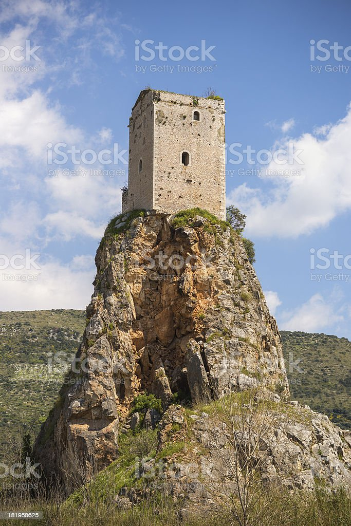 Medieval tower of  Monticchio-Sermoneta, Lazio Italy royalty-free stock photo