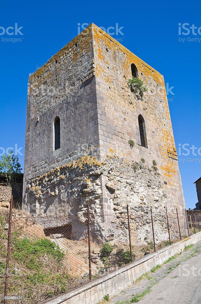 Medieval tower. Tuscania. Lazio. Italy. stock photo