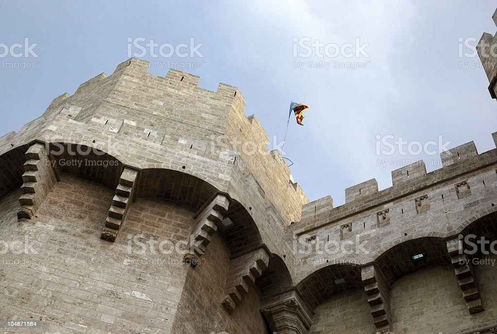 Medieval tower, Valencia stock photo