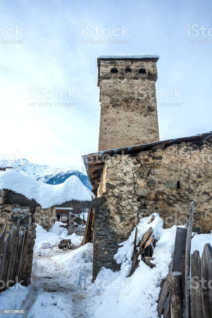 Medieval towers in Latali in the Caucasus Mountains, Upper Svaneti, Georgia. stock photo