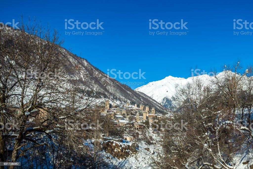 Medieval towers in Mestia in the Caucasus Mountains, Upper Svaneti, Georgia stock photo