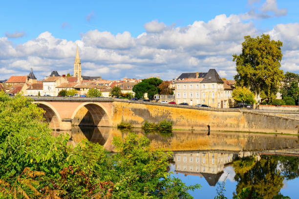 Medieval town Bergerac on the Dordogne River stock photo