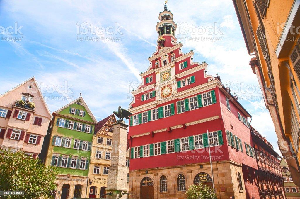Medieval town Esslingen am Neckar Famous historical landmark town hall stock photo