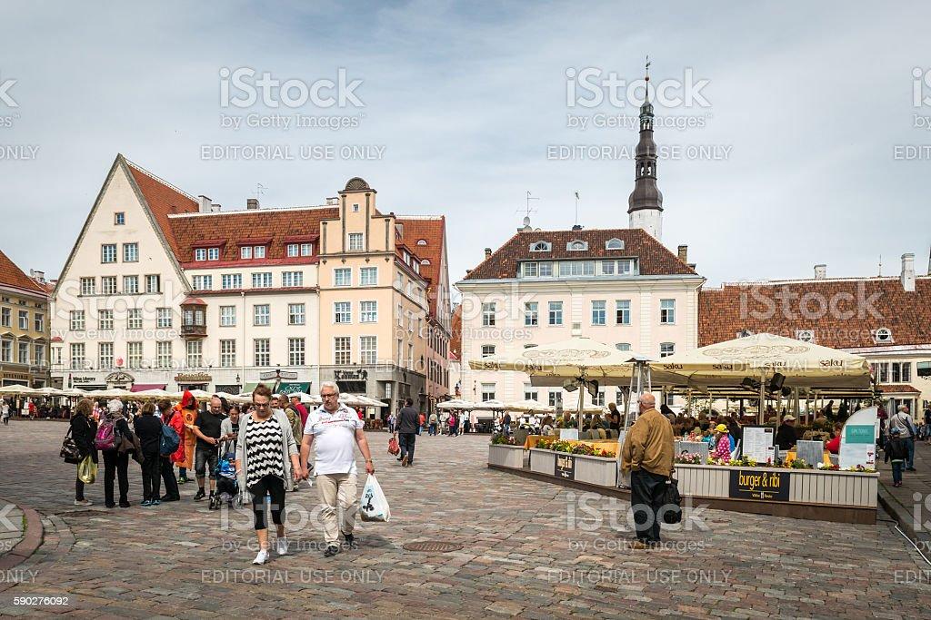 Medieval Town Hall Square of Tallinn, Estonia stock photo