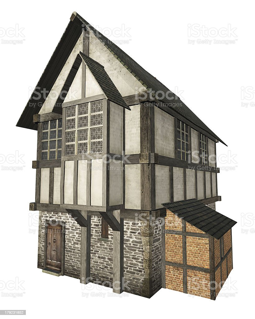 Medieval Town House Isolated on White royalty-free stock photo