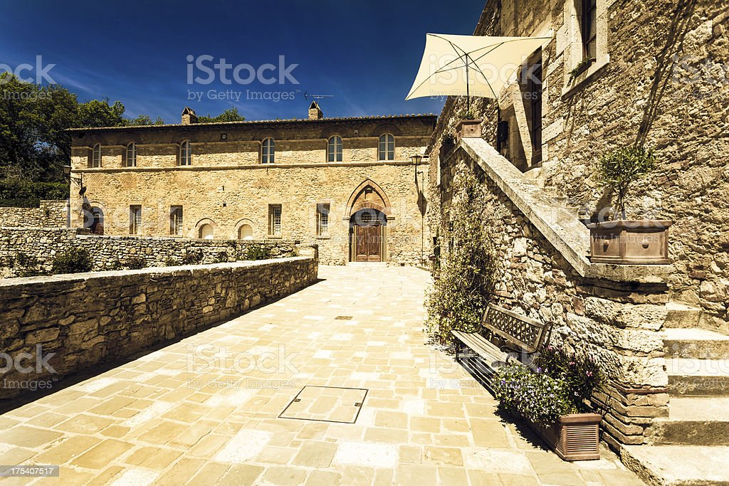 Medieval Town of Bagno Vignoni in Tuscany, Italy royalty-free stock photo