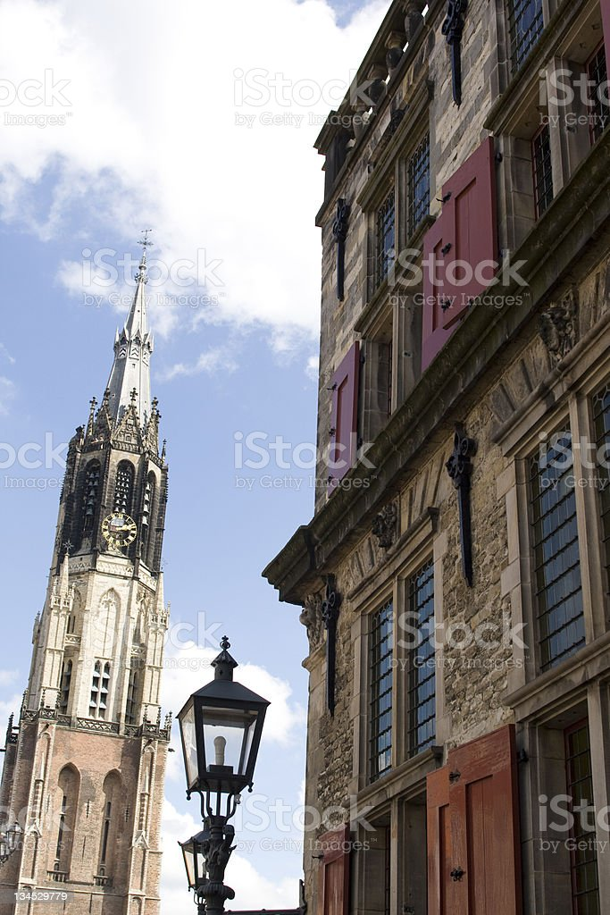 Medieval town of Delft in the Netherlands stock photo