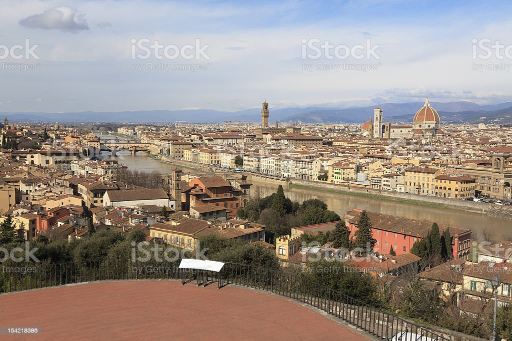 Medieval town of Florence with Duomo and River Arno, Italy royalty-free stock photo