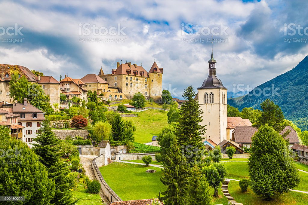 Medieval town of Gruyeres, Fribourg, Switzerland stock photo