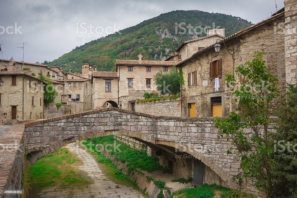 Medieval town of Gubbio - Italy. stock photo