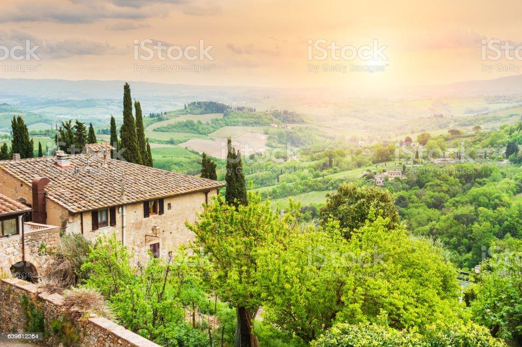 Medieval town San Gimignano in Tuscany, Italy stock photo