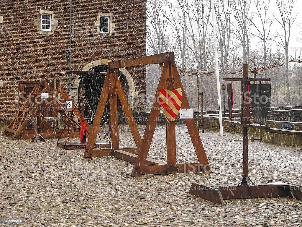Medieval training apparatus  in Kasteel Hoensbroek, stock photo