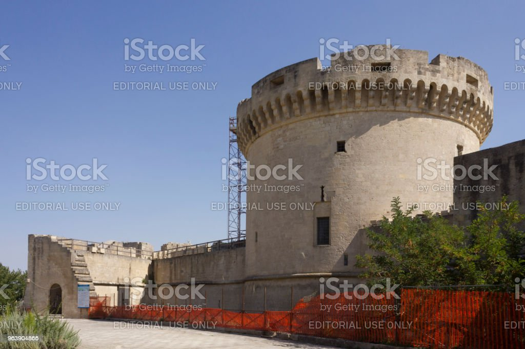 Medieval Tramontano Castle in Matera, under renovation works - Royalty-free Ancient Stock Photo