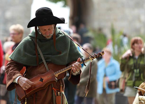 Medieval troubadour stock photo