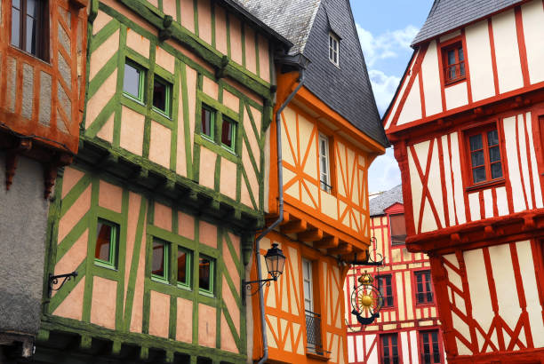 Medieval Vannes, France Colorful medieval houses in Vannes, Brittany, France half timbered stock pictures, royalty-free photos & images