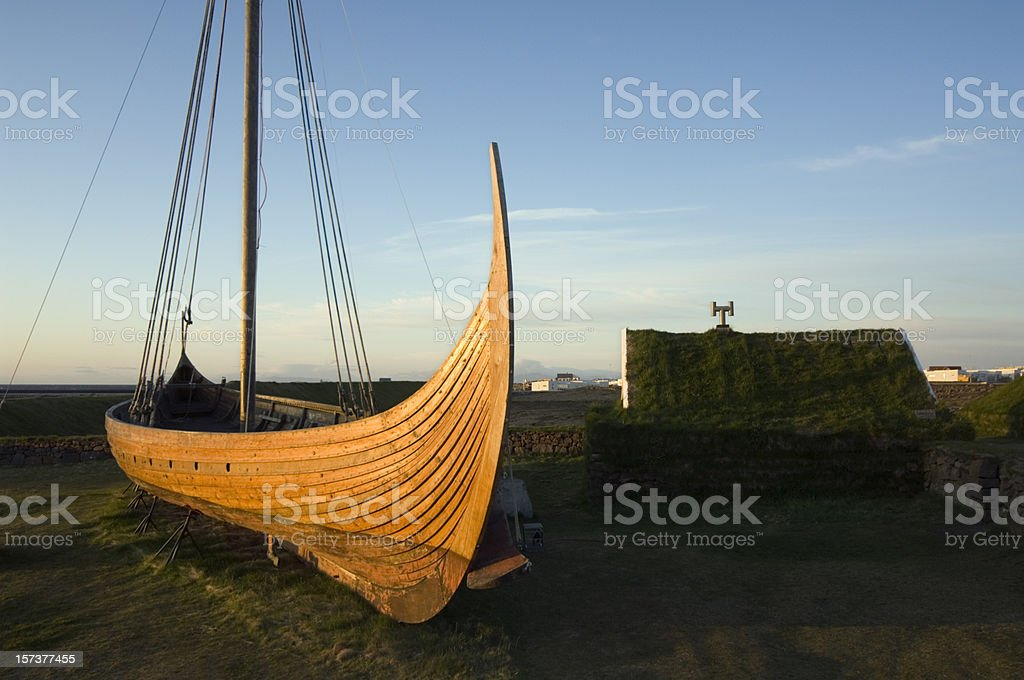 Medieval viking boat reconstruction Iceland stock photo