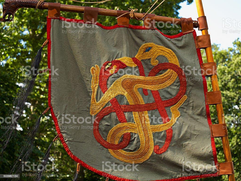 Medieval Viking knight banner flag stock photo