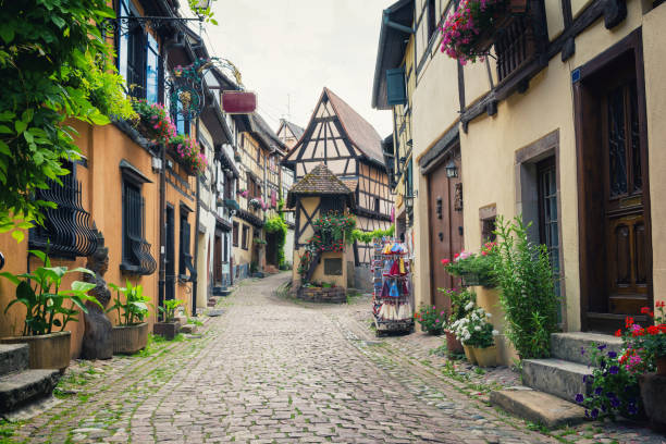 medieval village eguisheim in alsace, east france - charming stock photos and pictures