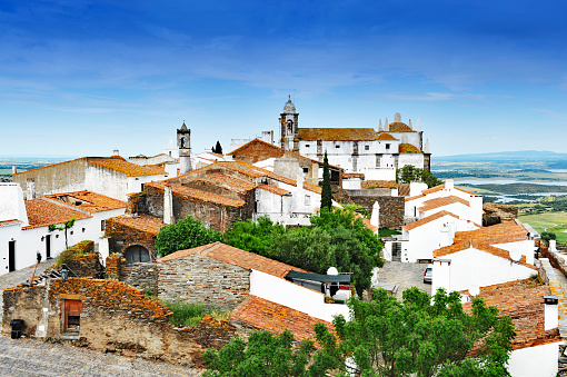 View on the old town of the medieval village of Monsaraz and the surrounding landscape,Alentejo,Portugal.View from the medieval castle.