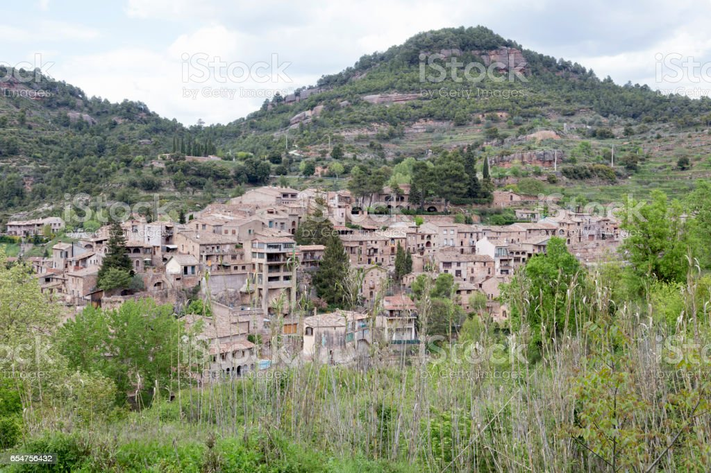 Medieval village of Mura in Barcelona province. stock photo