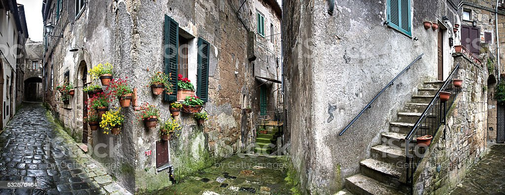 Medieval Village of Sorano in Southern Italy stock photo