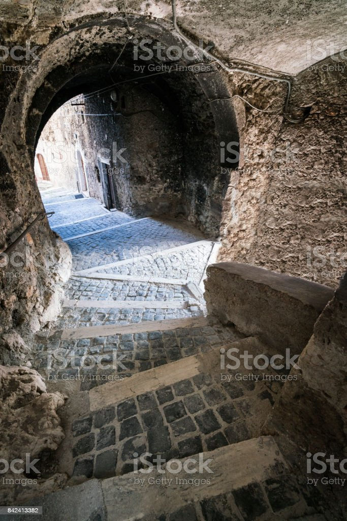 Medieval village tunnels stock photo