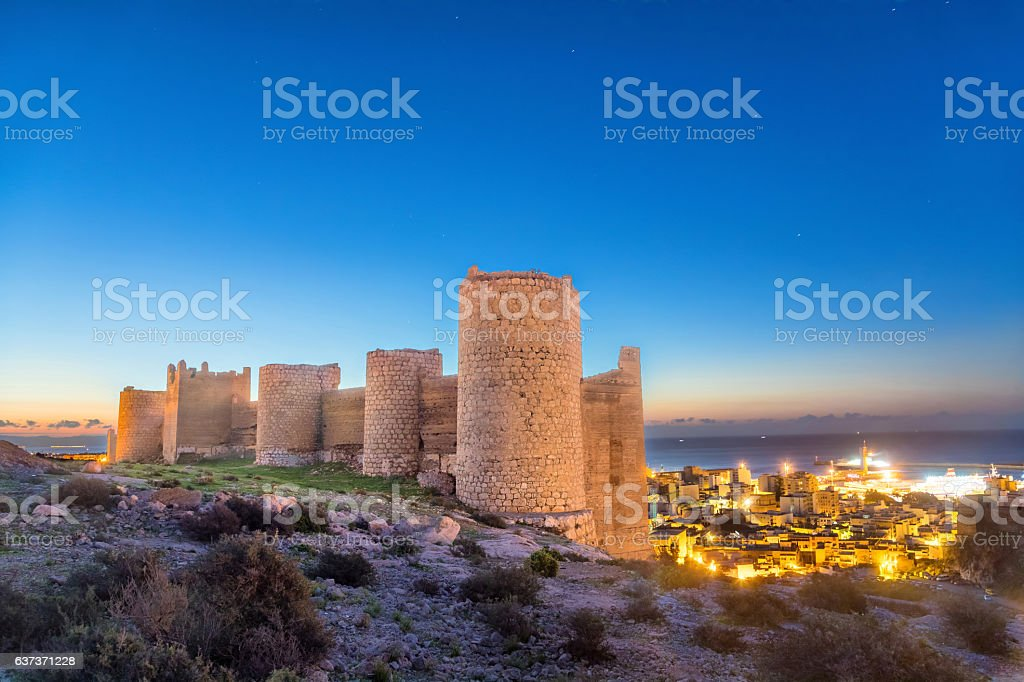 Medieval wall of Alcazaba on the hill, Almeria stock photo