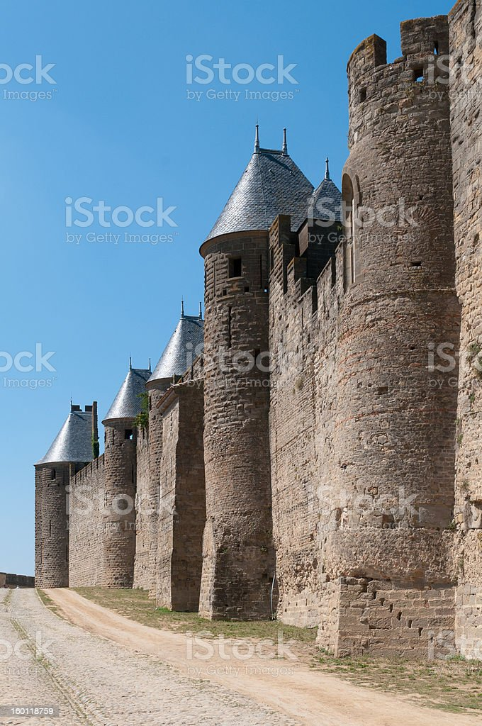 Medieval Wall with Towers, La Cité, Carcassonne, France stock photo