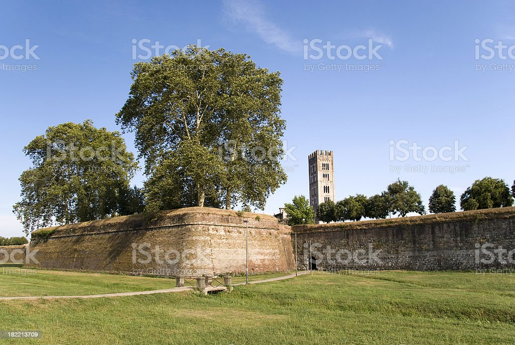 "Medieval Walls ""Surrounding wall of Lucca, Italy."" Ancient Stock Photo"