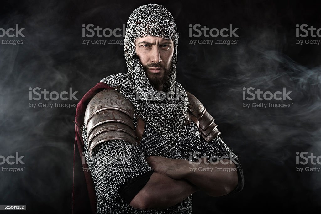 Medieval Warrior with chain mail armour stock photo