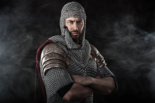medieval warrior with chain mail armour - knights templar stock pictures, royalty-free photos & images