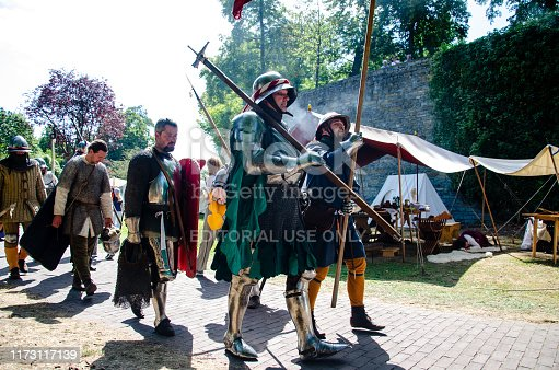 Soest, Germany - August 4, 2019: Medieval festival participants Soester Fehde 2019