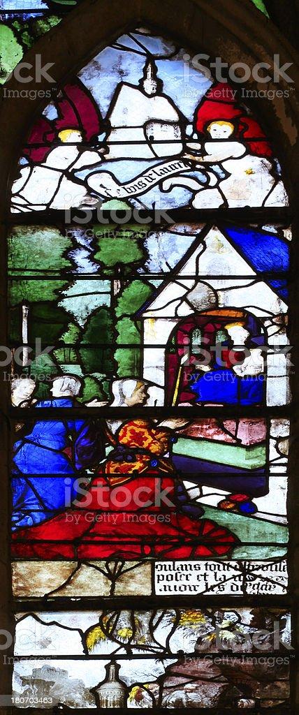 Medieval Window Santa Casa, Church Saint-Etienne, Beauvais, France royalty-free stock photo