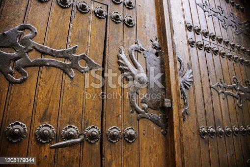 Medieval wooden door, decoration and protection detail, wood art