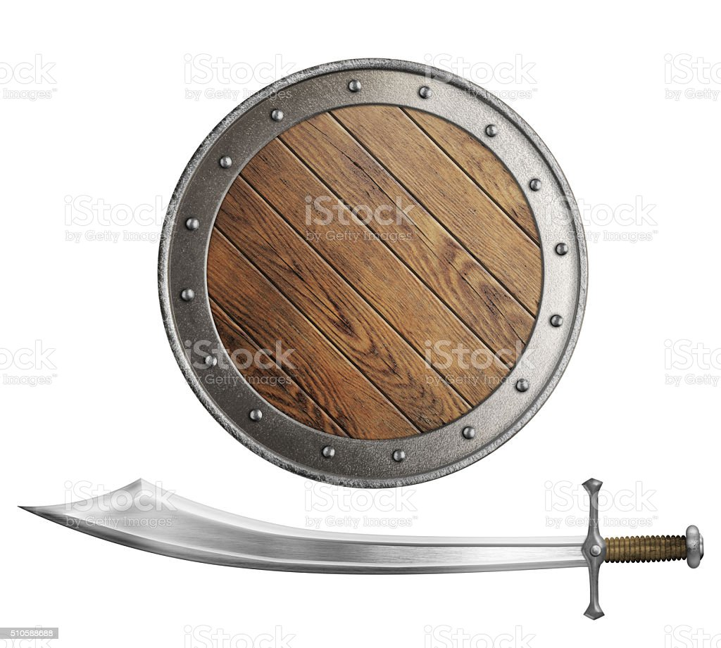 medieval wooden shield and sword or saber isolated stock photo