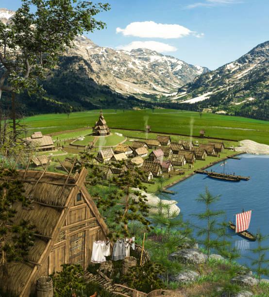 medeltida vikingaby i trä med hamn och fartyg - grimstorp bildbanksfoton och bilder