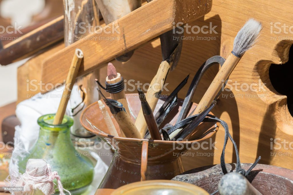 medieval writing tools stock photo